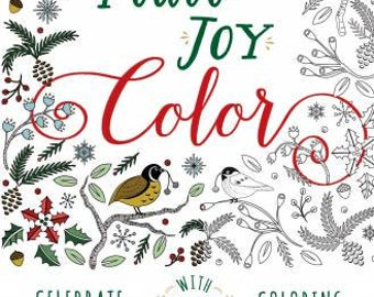 Coloring Collection Booklet, Peace, Joy, Color, Softcover Book, Coloring Cards, Christmas Cards, Holiday Cards