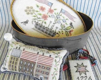 Counted Cross Stitch Pattern, Patriotic Shaker Box, Primitive Decor, Americana, Patriotic Box Set, The Scarlett House, PATTERN ONLY