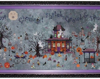 Counted Cross Stitch Pattern, Ghoul's Crossing, Halloween Sampler, Cats, Ghosts, Pumpkins, Skeletons, Praiseworthy Stitches, PATTERN ONLY
