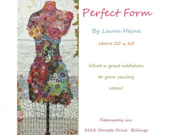 Quilt Pattern, Perfect Form, Pieced Quilt, Collage Quilt, Dress Form, Mannequin, Applique Quilt, Wall Hanging, Fiberworks, PATTERN ONLY