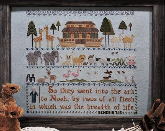 Counted Cross Stitch Pattern, Two by Two, Noah's Ark Sampler, Inspirational Sampler, Genesis 7:15, Vintage NeedleArts,  PATTERN ONLY