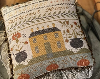 Counted Cross Stitch, Butternut House Pinkeep, Fall Decor, Autumn Decor, Bowl Filler, Pillow Ornament, Stacy Nash Primitives