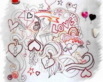 Embroidery Pattern, Crazy Love, Stitchery Pattern, Valentines Day, Valentine Decor,  Free Stitches, Embroidery Design, PATTERN ONLY