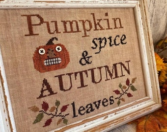 Counted Cross Stitch, Autumn Favorites, Halloween Decor, Autumn Sampler, Jack O' Lantern, Leaves, Rustic Chic, Mani di Donna, PATTERN ONLY