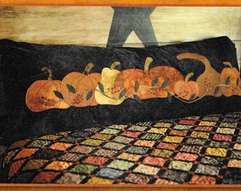 Wool Applique Pattern, Pumpkin Row, Bed Pillow,  Wool Pumpkins, Wool Pillow, Fall Decor, Primitive Decor, Primitive Gatherings, PATTERN ONLY