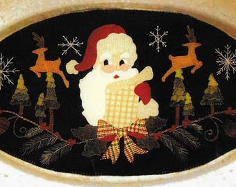 Wool Applique Pattern, Making a List, Table Mat, Christmas Decor, Santa Claus, Holiday Decor, Wool Mat, Sew Cherished, PATTERN ONLY