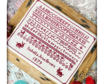 Counted Cross Stitch Pattern, Isabella June Brown, 1879 Sampler, Red Sampler, Rabbits, The Elegant Thread, PATTERN ONLY
