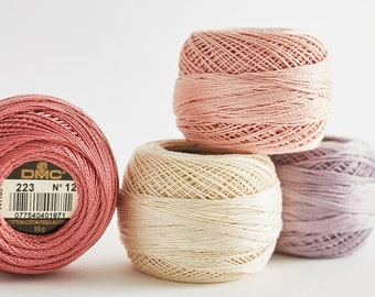 DMC Pearl Cotton, Size 12, Perle Cotton Ball, Embroidery Thread, Punch Needle, Penny Rugs, Wool Applique, Hardanger, Tatting, Crochet