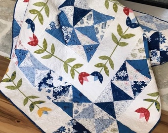 Quilt Pattern, Dutch Delight, Pieced Quilt, Appliqued Quilt, Wall Hanging, Bed Quilt, Hour Glass Block, Tulips, Jillily Studio, PATTERN ONLY