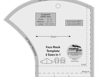 Face Mask Ruler, Face Mask Template, Creative Grids Acrylic Ruler, Face Mask Ruler, Creative Grids Face Mask Ruler, Made in USA