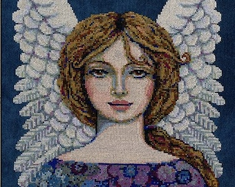 Counted Cross Stitch Pattern, In Command, Angel, Angel Wings, Inspirational, Primitive Decor, Teresa Kogut, PATTERN ONLY