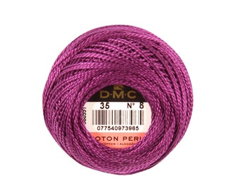 DMC Perle Cotton, Size 8, DMC 35, Vy Dk Fuchsia, Pearl Cotton Ball, Embroidery Thread, Punch Needle, Embroidery, Penny Rug, Sewing Accessory