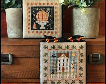 Counted Cross Stitch Pattern, Fall is in the Air, Part Two. Autumn Decor, Pumpkins, Country Rustic, Little House Needlework, PATTERN ONLY