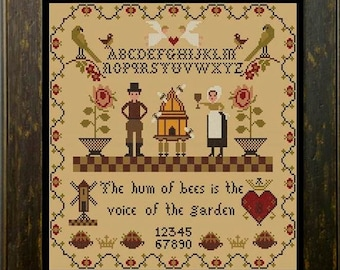 Counted Cross Stitch Pattern, Hum of Bees, Bee Skep, Honey Bees, Windmill, Sampler, Country Rustic, Twin Peak Primitives, PATTERN ONLY
