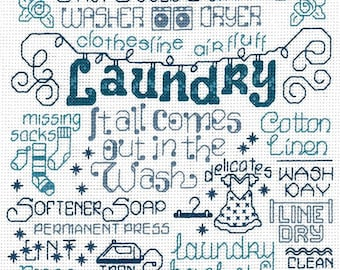 Counted Cross Stitch Pattern, Let's Do Laundry, Laundry Room, Farmhouse Decor, Imaginating, Ursula Michael, PATTERN or KIT ONLY