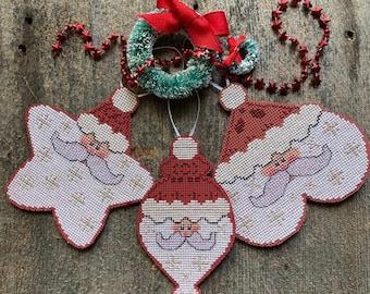 Counted Cross Stitch Pattern, Santa Ornaments, Santa Kringle, Starshine Santa, Heartful Santa, Christmas Decor, Luhu Stitches, PATTERN ONLY