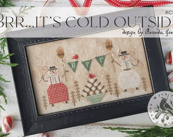 Counted Cross Stitch Pattern, Brr...It's Cold Outside, Snowman, Snow Folk, Snowballs, Candy Canes, Brenda Gervais, PATTERN ONLY