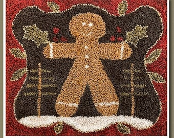 Punch Needle Pattern, The Gingerbread Man, Christmas Decor, Holiday, Gingerbread, Country Decor, Little House Needleworks, PATTERN ONLY