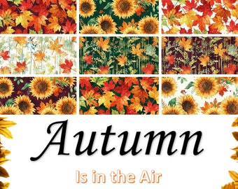 Quilt Fabric, Autumn Is in the Air, Fall Fabrics, Sunflowers, Maple Leaves, Pumpkins, Mulberry Leaves, Harvest Fabric, Hoffman Fabrics