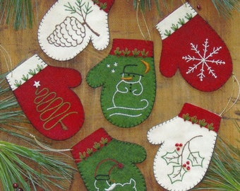 Embroidery Pattern and Kit, Mittens, Christmas Mitten Ornaments, Winter Mittens, Mitten Gift Bag, Rachel's of Greenfield, PATTERN AND KIT