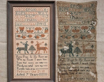 Counted Cross Stitch Pattern, Perry Pryor, Antique Reproduction Sampler, Beth Twist, Heartstring Samplery, PATTERN Only