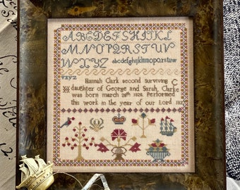 Counted Cross Stitch, Hannah Clark 1837, Sampler, Inspirational, Reproduction Sampler, Antique Reproduction, Hands to Work