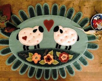 Wool Applique Pattern, Woolen Love, Table Topper, Wool Applique, Sheep Penny Rug, Lamb Table Topper, Bird Brain Designs, PATTERN ONLY