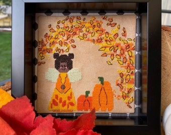 Counted Cross Stitch Pattern, Autumn Peg, Fall Decor, Pumpkins, Fairy, Autumn Decor, Fall Decor, Fall Leaves, Luhu Stitches, PATTERN ONLY