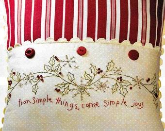 Embroidery Pillow Pattern, Simple Joys of Winter, Winter Decor, Cottage Decor, Crabapple Hill Studio, Quilted Pillow, PATTERN ONLY