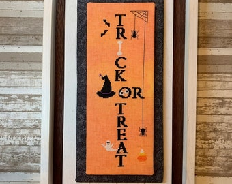 Counted Cross Stitch Pattern, Trick or Treat, Autumn Decor, Halloween Sampler, Pumpkins, Bats, Spiders, Needle Bling Designs, PATTERN ONLY