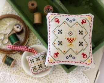 Cross Stitch, Maggie's Basket, Pincushion, Scissor Fob, Basket Quilt, Quilt Design, Robin Sample, October House Fiber Arts, PATTERN ONLY