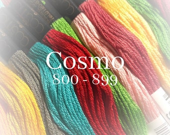Cosmo, 800 - 899, 6 Strand Cotton Floss, Size 25, Embroidery Floss, Cross Stitch Floss, Punch Needle, Embroidery, Wool Applique, Quilting