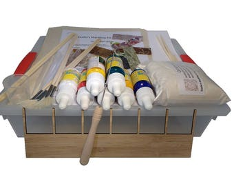 Dodin's Paper Marbling Kit 7C Plus with Supplies, Tools, Samples and How to Guide, DIY Craft Kit, Ebru Set