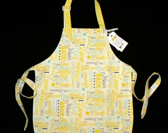 Child's Full Reversible Apron/ Coverup-Yellow Nursery-type Words... FREE SHIPPING - Ages 2+ -  #216c