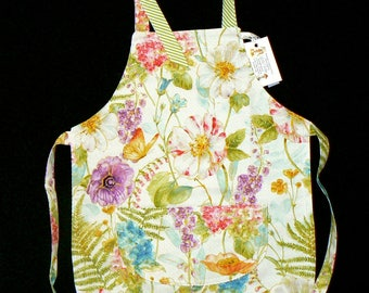 Child's Full Reversible Apron/ Coverup-Colorful floral reverses to green white stripe... FREE SHIPPING - Ages 2+ -  #221c-