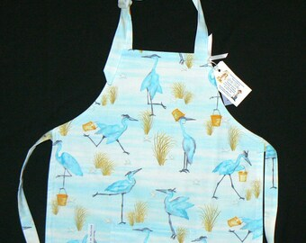 Child's Full Reversible Apron/ Coverup-Blue flamingos Beach Summer... FREE SHIPPING - Ages 2+ -  #218c-
