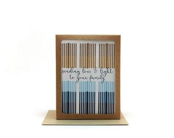 sending love and light to your family   menorah card    holiday card   happy new year card   hanukkah card ideas   chanukah card