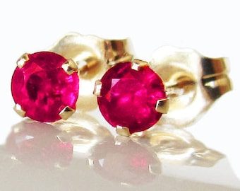 d13c8fc22 Ruby Stud Earrings 3 mm Studs Gemstone 14K Yellow or White Gold Earrings  Wedding Jewelry Anniversary Gift