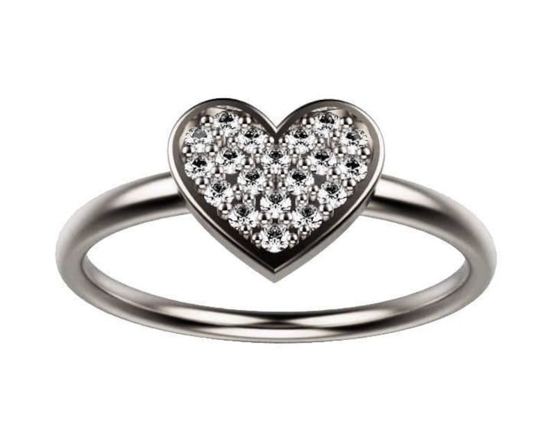 a9e1e5491e988 Heart Diamond Engagement Ring, Heart Shaped Engagement Ring, Heart Shape  Diamond Ring, Love Heart Ring, White Gold Ring, Cute Heart Rings