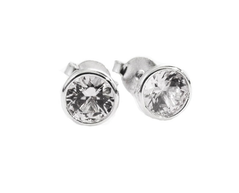 829db2a1456a8 Small White Sapphire White Gold Stud Earrings, White Studs, Natural White  Sapphire Earrings, Mother to Daughter Earrings, Round Brilliant