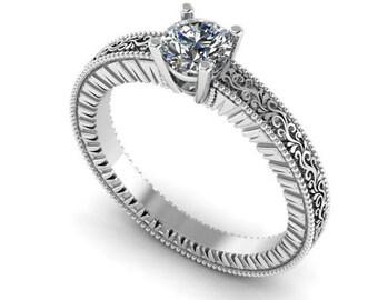 Diamond ring Gold ring Engagement ring Diamond Ring Milgrain ring Solitaire ring 14K or 18K gold Engagement gift