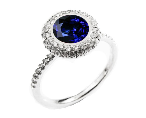 bb30eacd43799 Sapphire ring Halo Diamond Ring with ONE carat Fine Sapphire surrounded  with 56 Diamonds D-E-F VVS