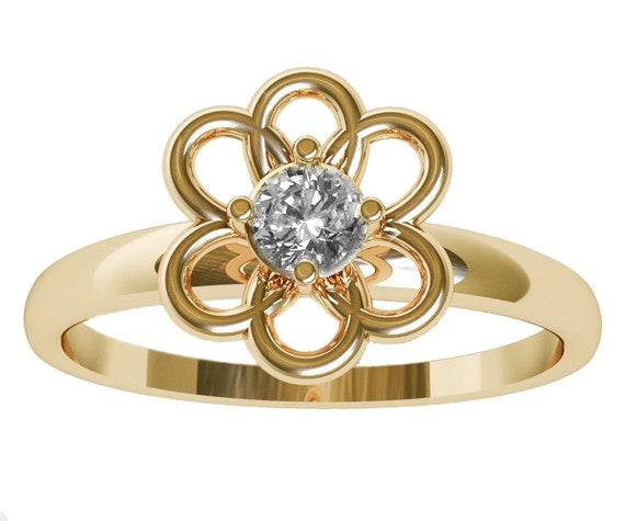 Gold flower diamond ring yellow gold solitaire diamond etsy image 0 mightylinksfo