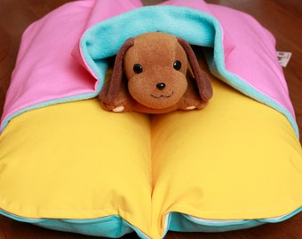 Small Breed Dog Bed Bunbed Dachshund Dog Bed Yellow Green Mod Flowers Fleece Mid Century Dog Bed