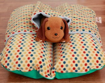 Bunbed Dachshund Dog Bed, BUNBED w/ COVER Burrow Snuggle Sack Pocket Bed, Rainbow Dots, Fleece, Dog Bed