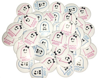 Blue Pink 1 2.25 Halloween Boy or Girl Ghost Ghost Baby Reveal VB041 1.5 Pinback Button Gender Reveal VB046 Pink or Blue