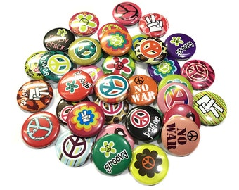 Pre Cut One Inch Bottle Cap Images Hippy Peace Signs Mix Free Shipping