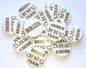 """Bridal, Gold, White, 1.5"""", 2.25"""", Pin Back Button, Bachelorette, Gold Bachelorette Pin, Bride's Drinking Team Button, Gold Bridal Party, Pin"""