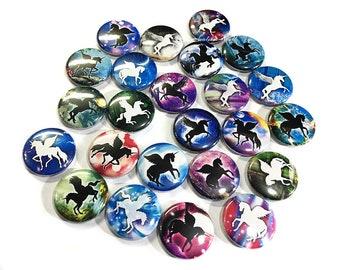 "Unicorn, Silhouette, 1"", 1.5"", Buttons, Unicorn Decor, Unicorn Pin, Unicorn Flatback, Unicorn Pinback, Unicorn Party Favor, Unicorn Birthday"