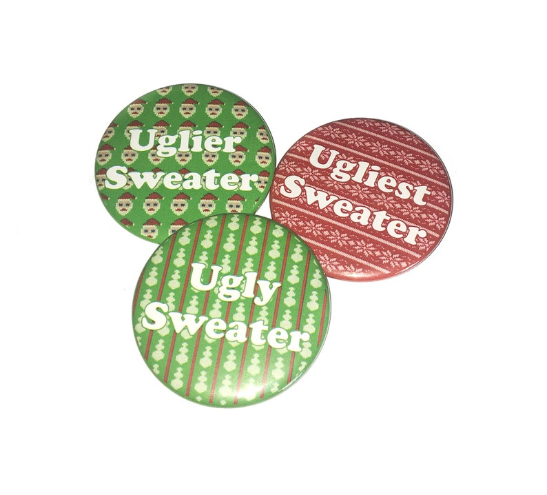 X036 Pinback Holiday Sweater Magnet Christmas Sweater Ugly Sweater Award Button Sweater Themed Party 2.25 Pin Ugly Sweater Party